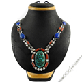 Indian antique design multi gemstone necklace wholesale 925 sterling silver jewelry handmade necklaces