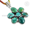 Glamorous look flower design pendant 925 sterling silver turquoise gemstone jewelry online