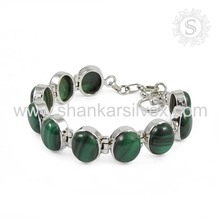 Charming design malachite bracelet 925 sterling silver gemstone bracelet jewellery indian silver jewelry supplier