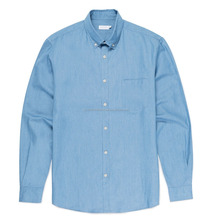 MENS BRUSHED PINPOINT OXFORD SHIRT IN ASH BLUE