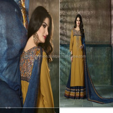 Indian Pakistani Pure Cotton Printed Embroidery Work Printed Chiffon Dupatta designer Indo Western suit