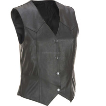 Cow Leather Mens Biker Three Lock Fish Vest 2017