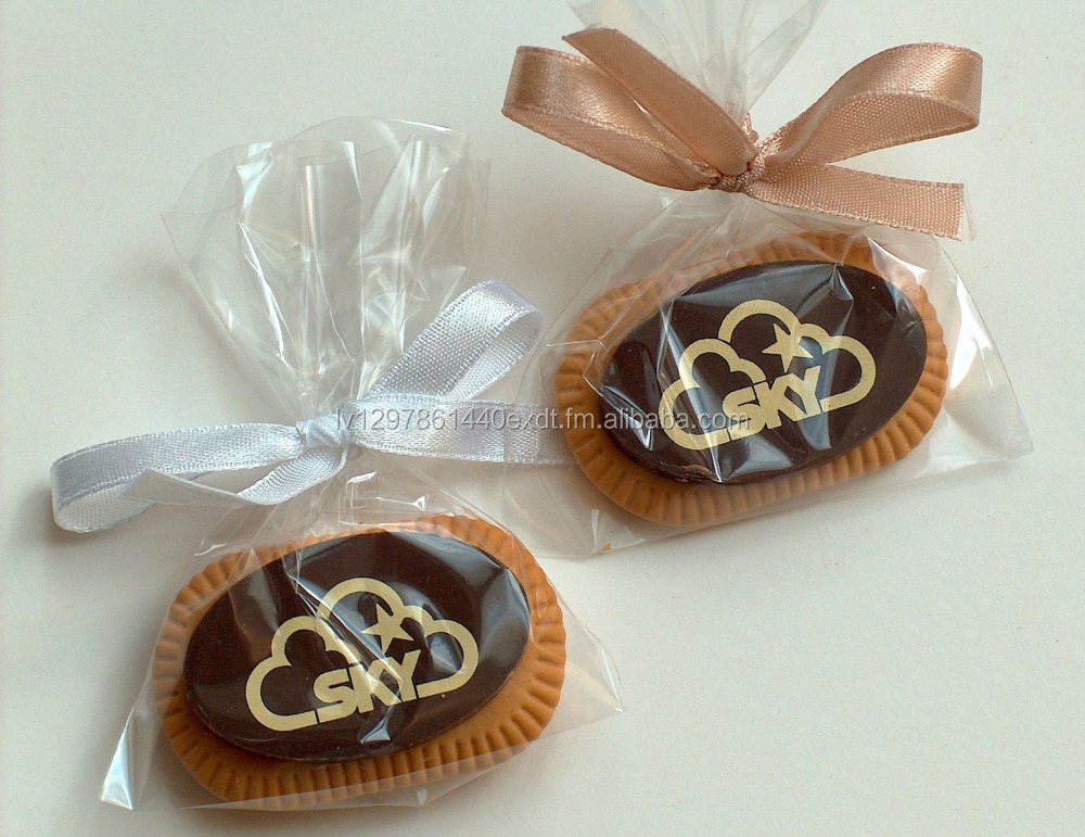 Coffee Biscuit with Custom Dark/White Belgian Chocolate in a Polybag with ribbon, 5g