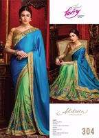 Bikaw Fashion Fusion of Blue And Green Royal Embroidered Moti Work In Skirt Saree