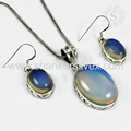 Wedding fashion design synthetic opal gemstone 925 sterling silver jewelry set wholesale supplier