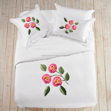 Hot Sale cotton ribbon embroidery wholesale 3d bedsheet Cotton Sheets Embroidery Bedding Sets/Embroidery Bedsheet