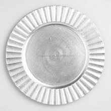 silver powder coated wedding charger plate