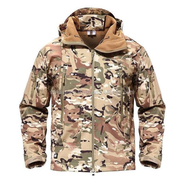 custom men's winter jacket tactical softshell jackets woodland camouflage military jacket