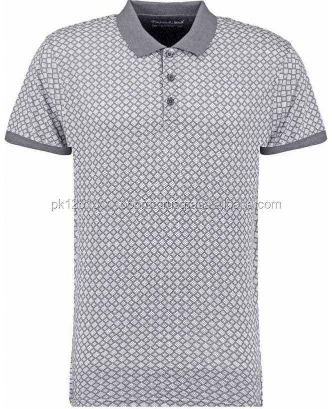 Men's Light Grey Abstract All Over Print Polo Shirt