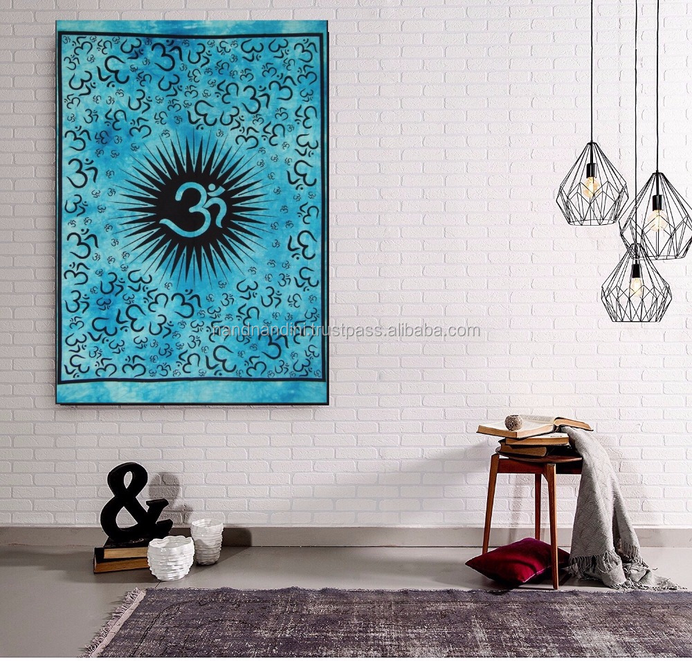 Om Religious Hindu Tapestry Hippie Wall Stickers Home Decor Gypsy Wall Hanging Bohemian Tapestry Mandala Poster
