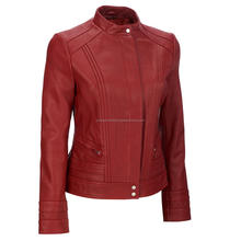 Red color women Leather Jacket / Leather Fashion Jacket