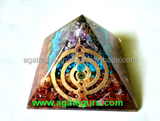 Natural Multi Gemstone Orgone Copper Reiki Symbol Energy Pyramid