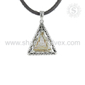 Triangle shape golden rutile gemstone splendid pendant 925 sterling silver jewelry supplier wholesale