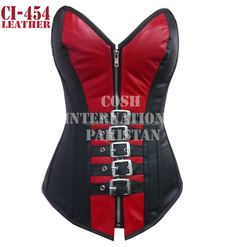 red and black leather waist training corsets supplier with steel boned