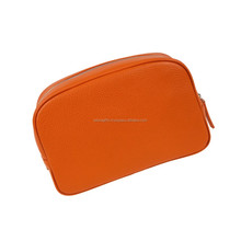 Orange color small leather cosmetic bags for girls handbags