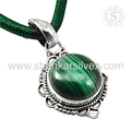 Glowing fashion green pendant malachite gemstone 925 sterling silver jewelry wholesale
