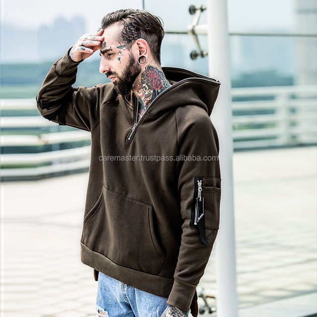 Hoodie with different colored sleeves pullover