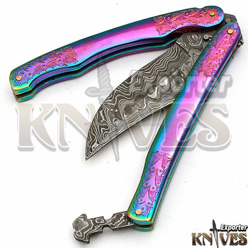Custom Hand Forged Damascus Steel Pocket / Folding Knife with Engraved Brass Handle