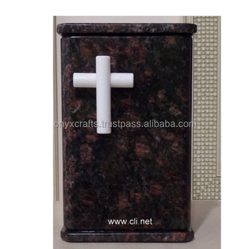 Black Gold Marble With Cross Cremation Urns in Low Price