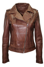 Ladies Women's BRANDO Brown Fashion Biker Style Soft Leather Rock Jacket/ Best quality by taidoc intl