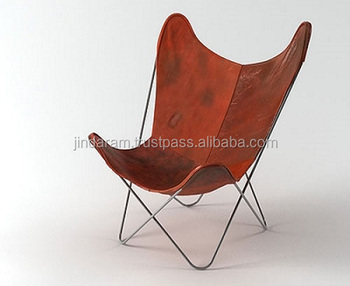 butterfly chair leather with iron clip click folded frame