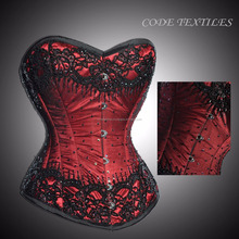 red overbust pattern corset with diamond waist training waist shapers
