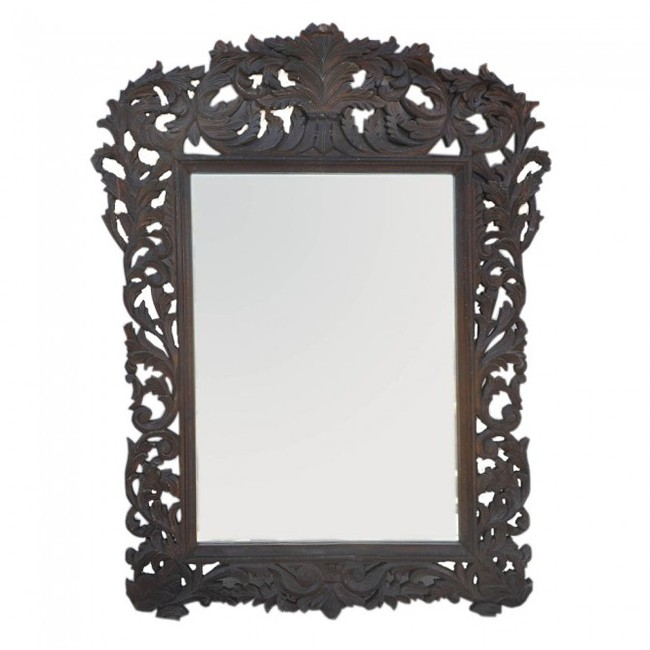 Hand Carved Mirror - 110cm BROWN