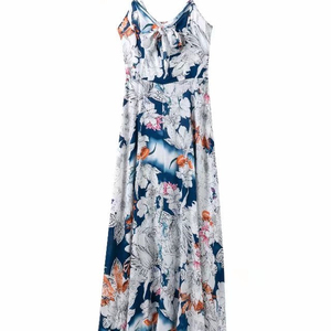 2019 Women long Sexy bohemian sling chiffon printed strapless dress