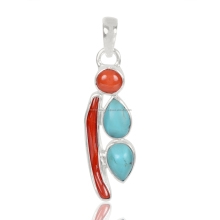Wholesale Jewelry Handmade Pendant , Arizona Turquoise, Coral And Coral Stick Gemstone 925 Sterling Silver Pendant