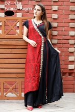 reyon floor length kurti with tussles