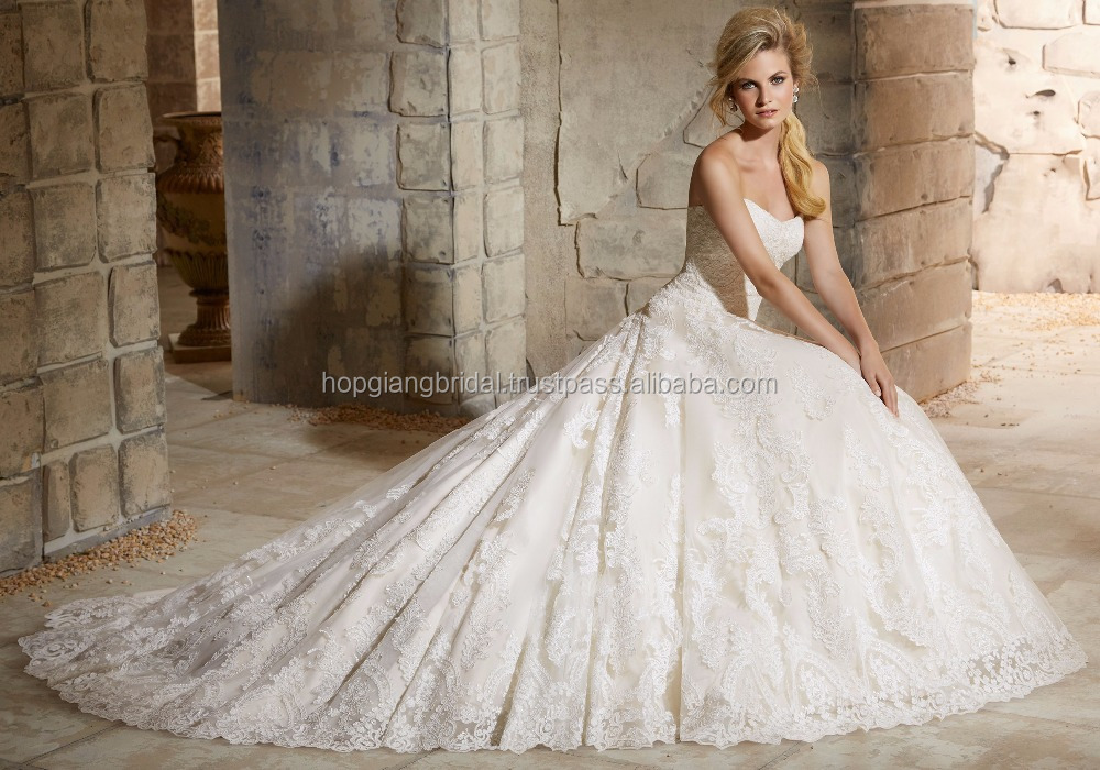 Latest Ball Gown Bridal Wedding Dress Shoulder-Straps Dress Long Train