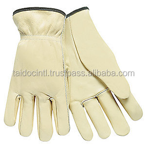 Cowhide Leather Driver's Gloves, Cream/Best quality by taidoc