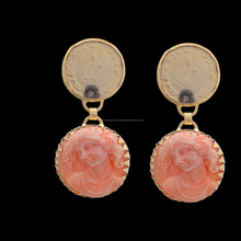 Unique Round Carved Designs Summer Gold Plated Coin Stud Earring For Women