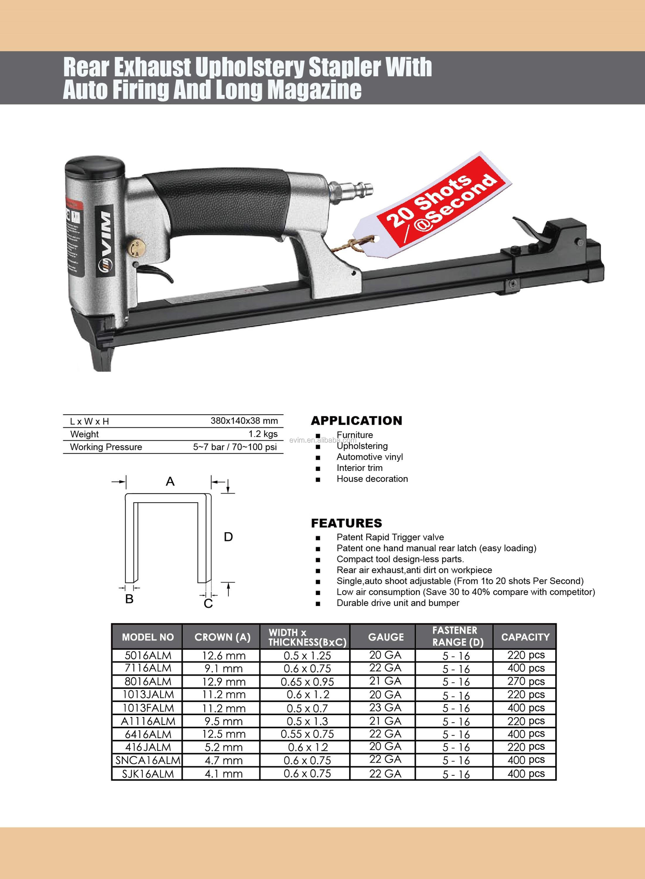 5016ALM 20 Gauge Rear Exhaust Upholstery Stapler with Auto Firing and Long Magazine