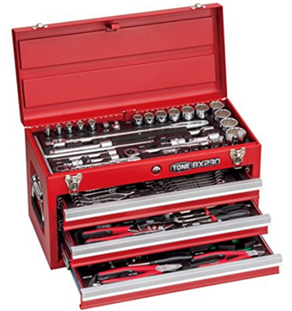 Socket and torque wrench of stainless steel & titanium. Manufactured by Tone. Made in Japan (electrical complete tool box set)