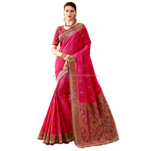 Hot Pink Banarsi Silk Thread Work Designer Traditional Saree / Banarasi Saree / Cotton Silk Sarees