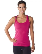 100% Made in USA Ladies' Eco Racerback Tank Top - made from 100% micro-modal, long in length and comes with your logo