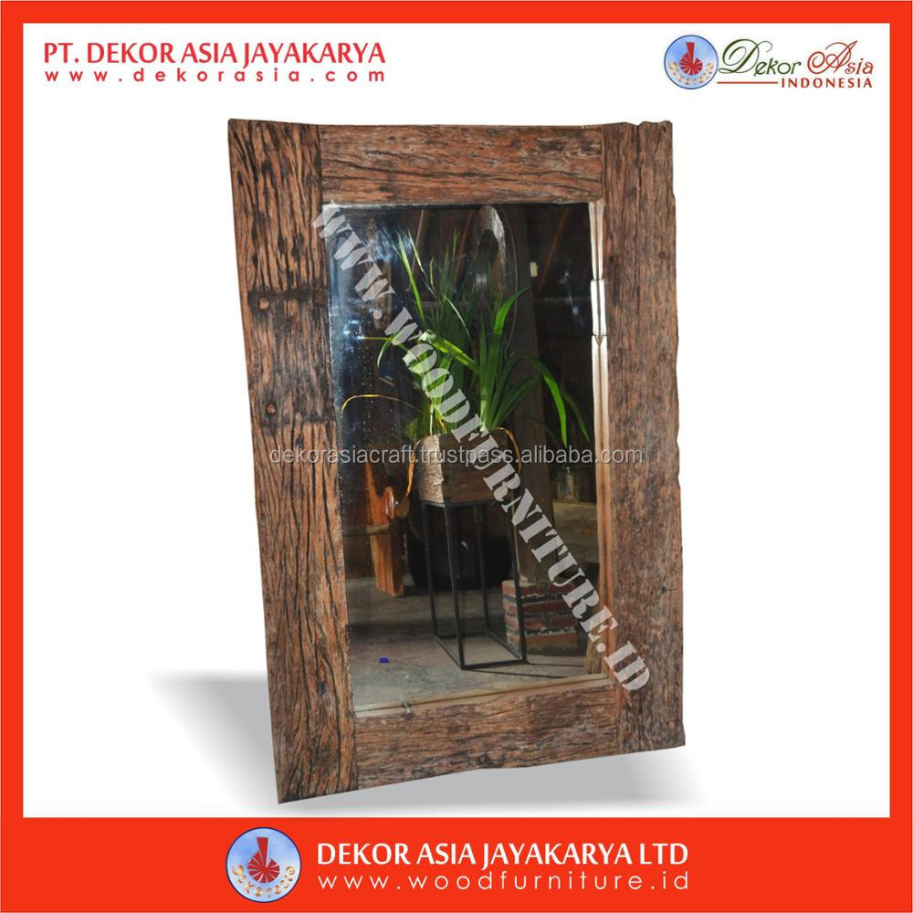 Recycled Railway Rustic Mirror ( Recycle Wood - Recycle Wood Furniture - Wooden Furniture )