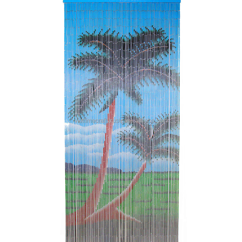 Tree picture bamboo beaded door curtains