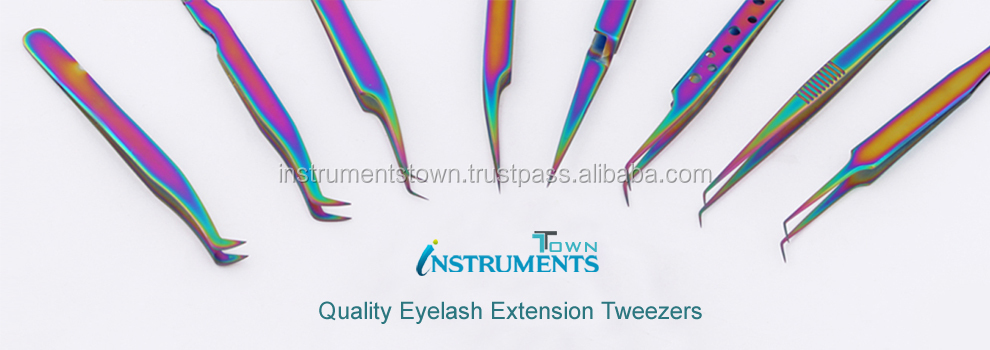Gold plated eyelash extension tweezers set