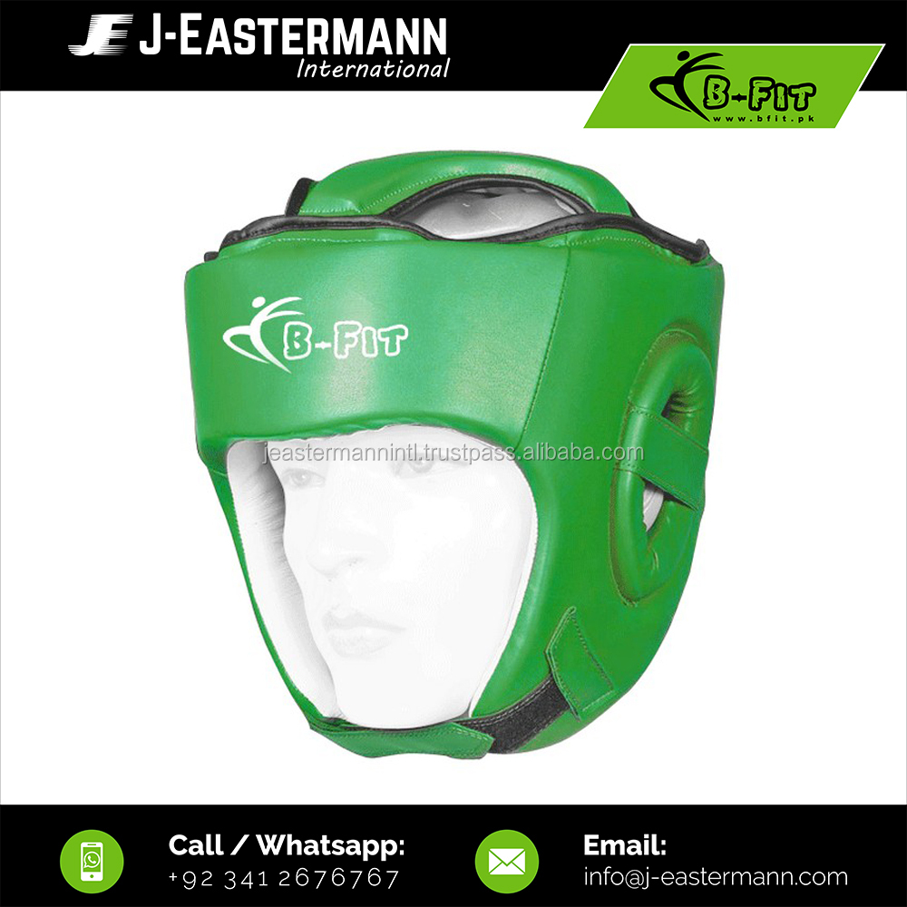Green Genuine Leather Kick Boxing Head Guards High Density Padding, Boxing Head Protections