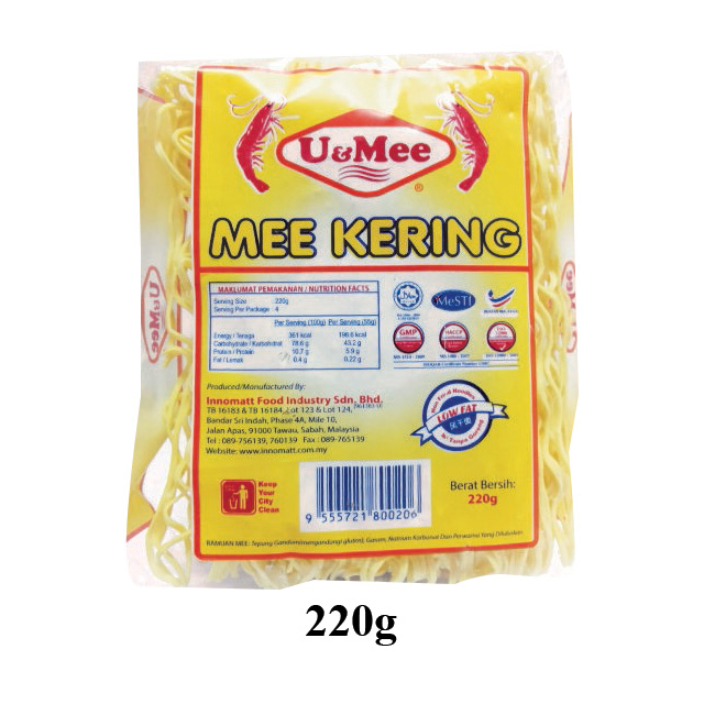 U and MEE Dried Noodles 0.22kg original