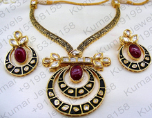 Golden Indian Polki Style Fine Kundan Ruby Color Stone Jewelry Fancy Black Rhodium Plated Tribal Modern Fashion Necklace Set
