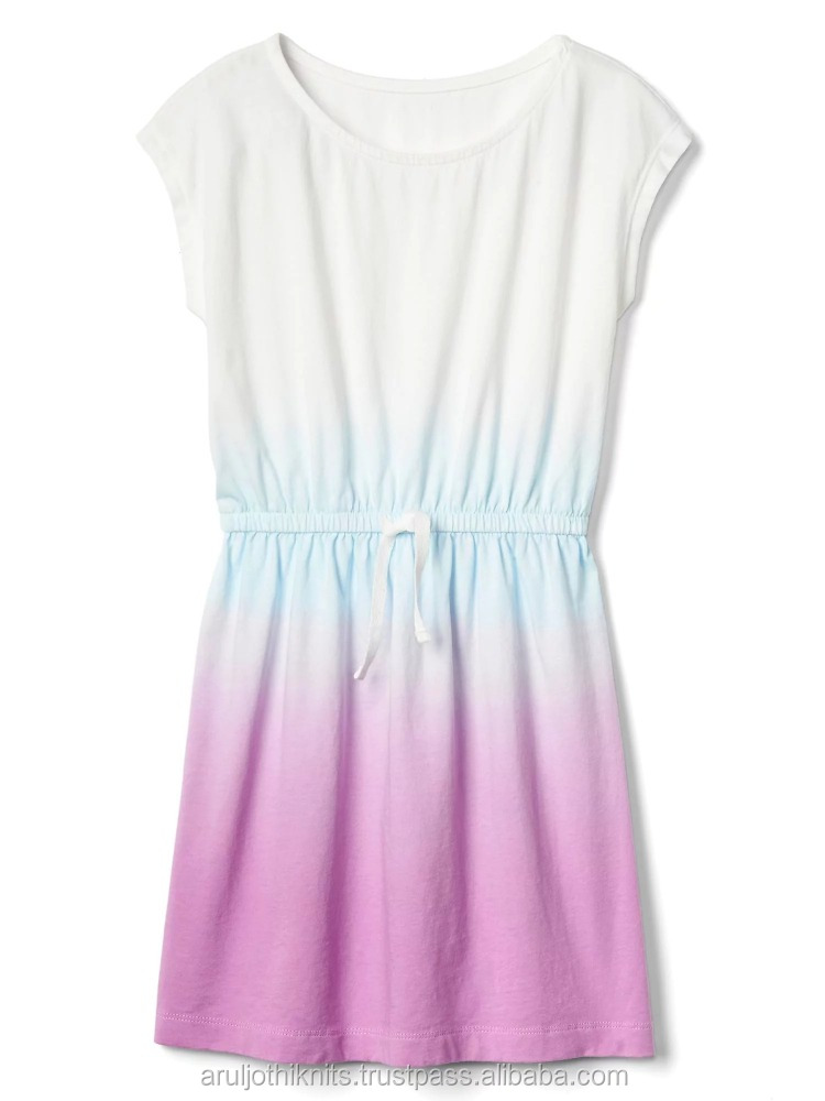 Girls dip dyed tie waist dress