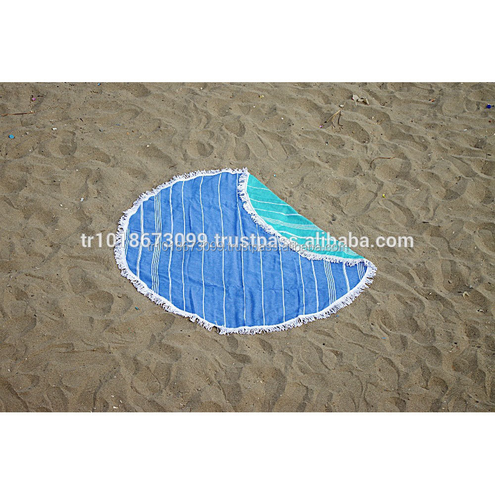Round Beach towel with tassel fringe from Turkish Factory, Round Pestemal towel