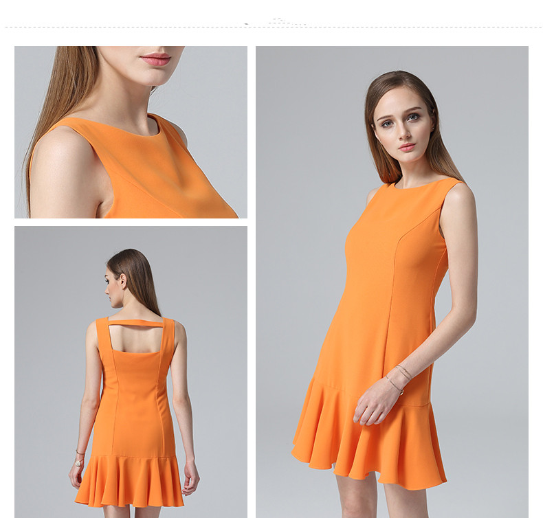 Latest 2017 fashion design Lotus edged dress orange yellow white solid color dress sleeveless summer backless sexy girls