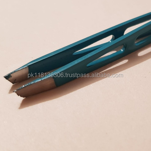High quality custom precision slant stainless steel eyebrow tweezers