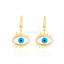 For Women Gold Plated Minimal Evil Eye Design Earring In Turkish Wholesale 925 Sterling Silver Earring