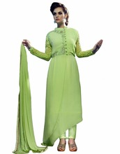 Glossy Light Green Color Resham Work Full Sleeves Semi-Stitched Designer Salwar Suit (salwar kameez suits)