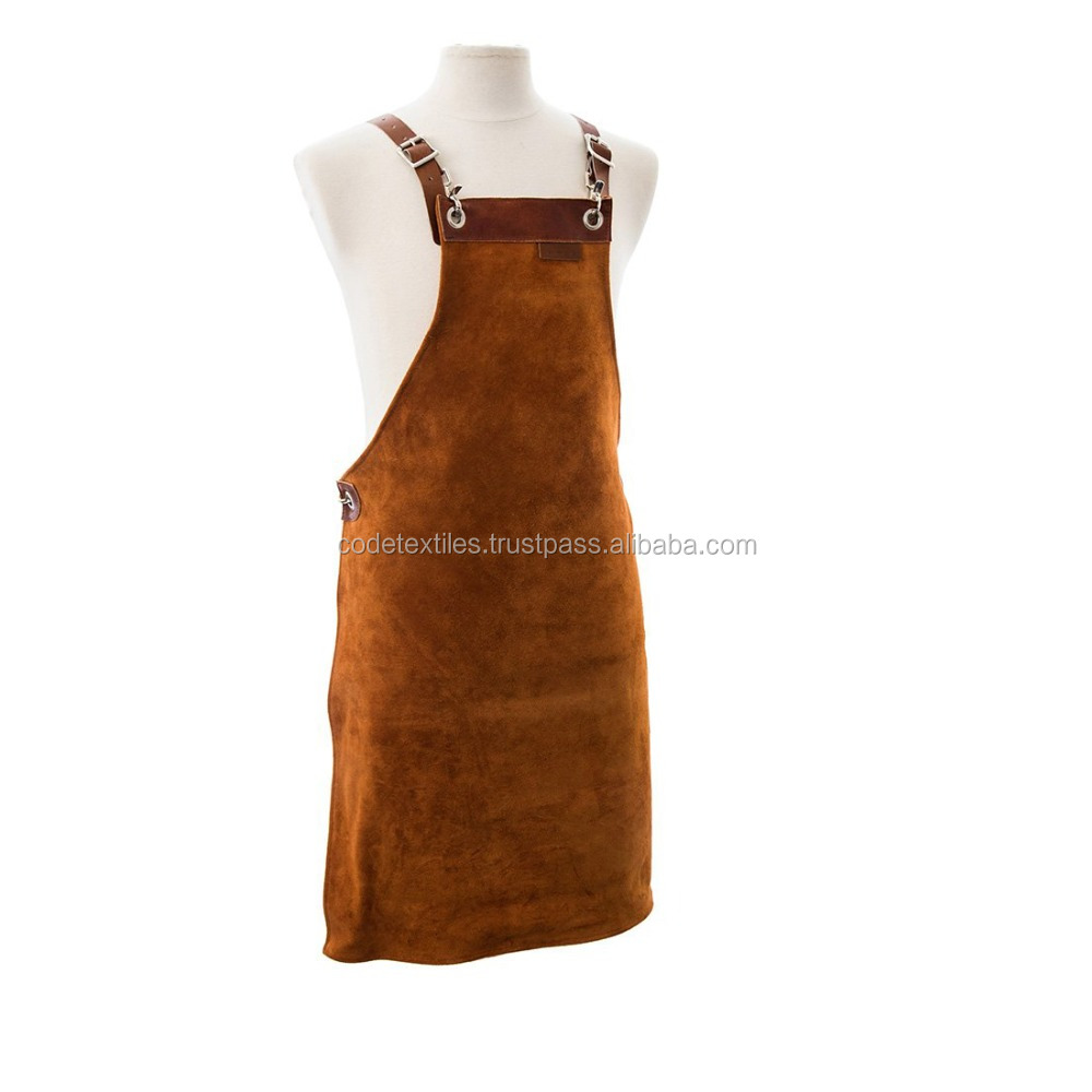 New 2018 Kitchen Restaurant Hotel Chef Waterproof Oil Anti-fouling Hanging Neck Leather Apron